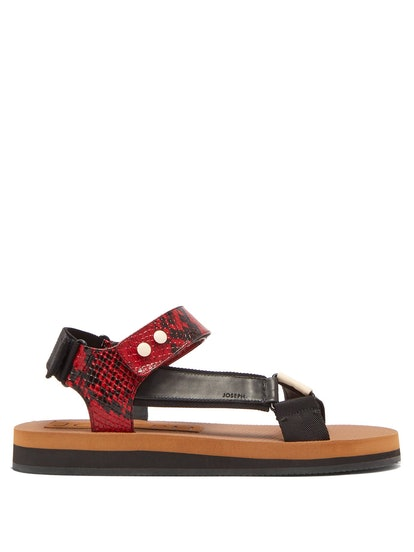 Tri-Color Python Effect Leather Sandals