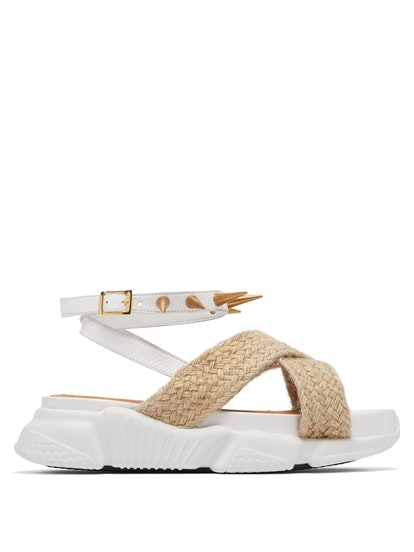 Raffia-Trimmed Studded Rubber Sole Sandals