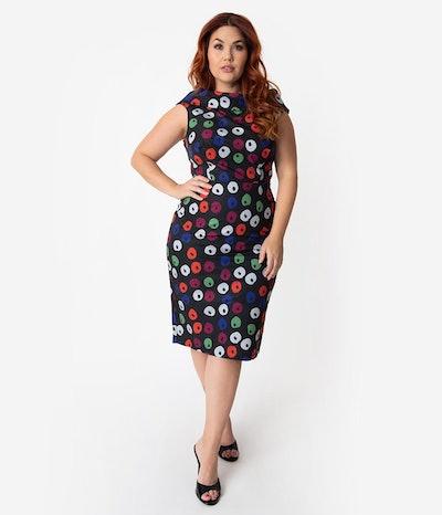 Barbie x Unique Vintage Plus Size Black Apple Print Sheath Dress