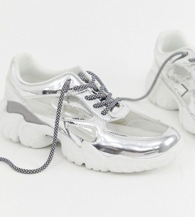 ASOS Drench clear lace up trainers