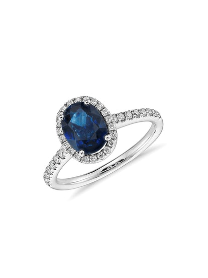 Sapphire and Micropavé Diamond Halo Ring