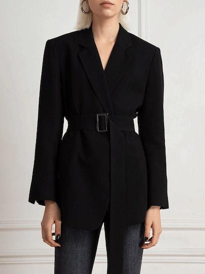 Briana Belted Black Blazer