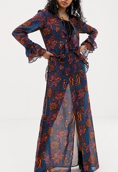 Sacred Hawk Maxi Dress In Sheer Floral Paisley