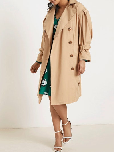 Puff Sleeve Leather Trench