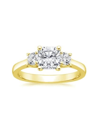 Petite Three Stone Trellis Diamond Ring