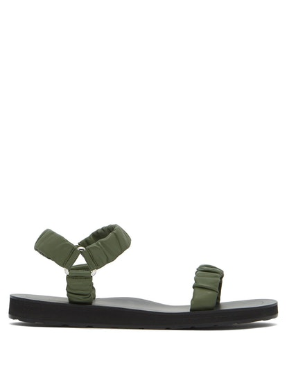 Egon Ruched Leather Sandals
