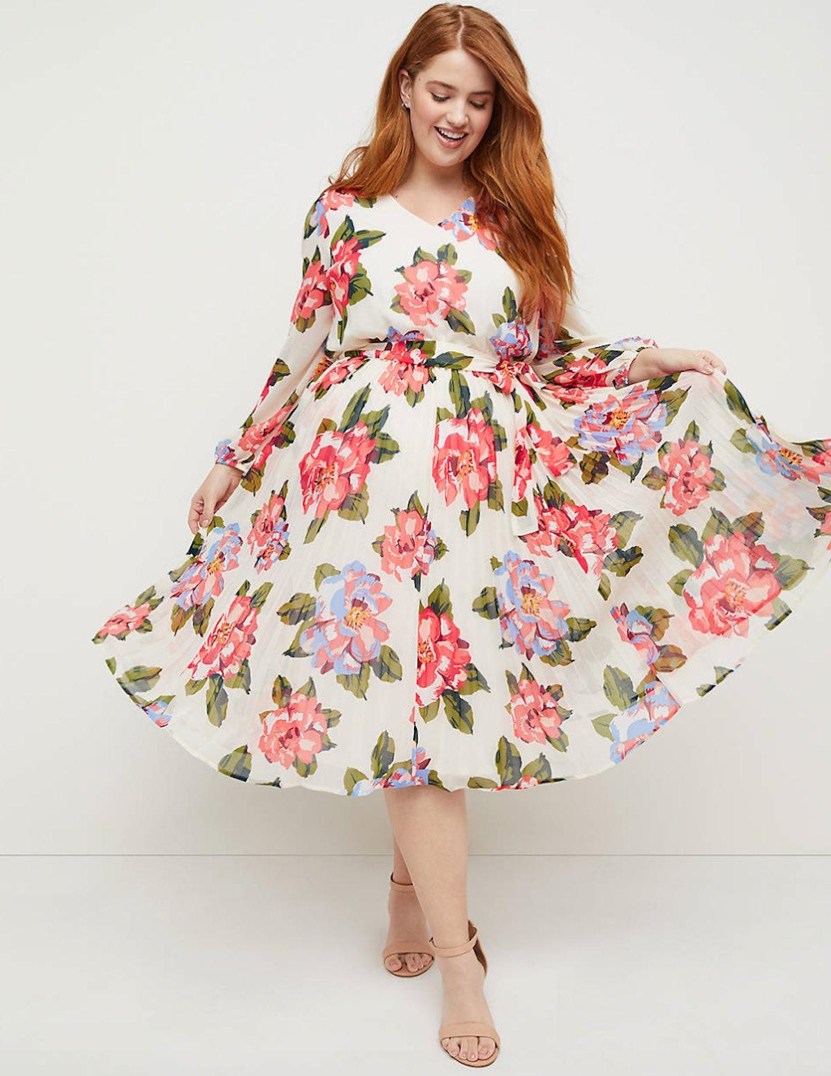Beauticurve Floral Pleated Midi Dress