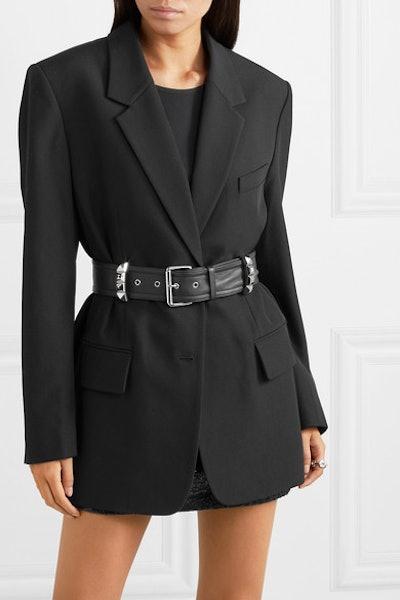 Oversized Belted Studded Wool Blazer