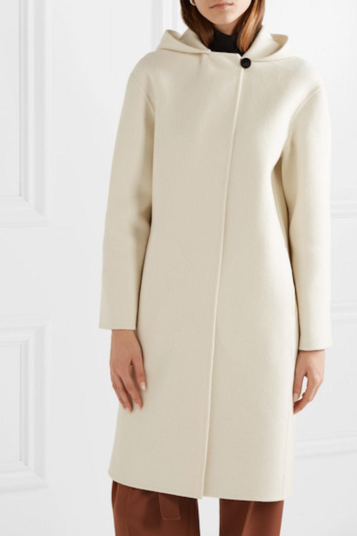 Hooded Wool-Blend Felt Coat