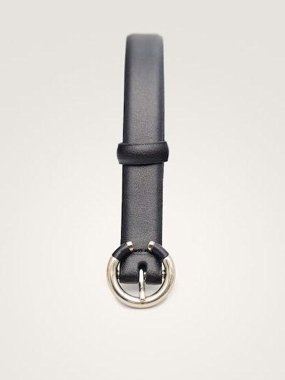 Black Nappa Leather Belt With Contrast Buckle