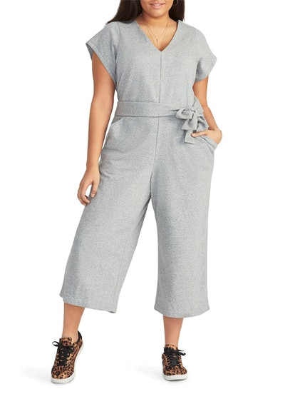 Racquel Tie Front Crop Cotton Blend Jumpsuit