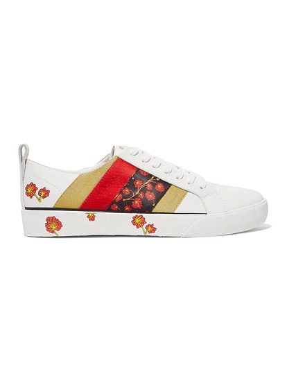 Tess Grosgrain-Trimmed Floral-Print Leather Sneakers