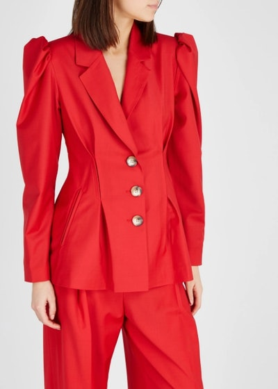 Red Puff-Sleeves Blazer
