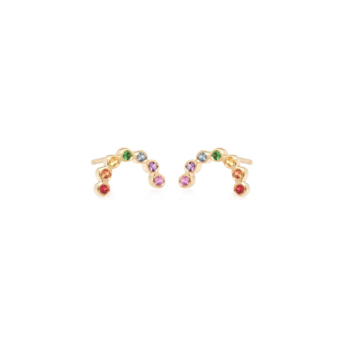 14k Arc Rainbow Sapphire Studs