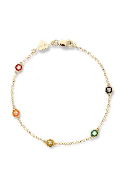 Diamond Enamel Bezel by the Yard Bracelet