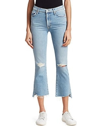 Insider High-Rise Frayed Step Hem Distressed Crop Jeans