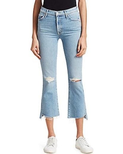Insider High-Rise Frayed Step Hem Distressed Crop Jeans