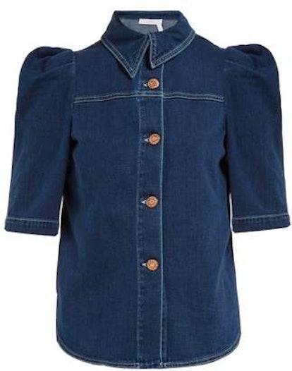 Puffed-Sleeve Denim Shirt
