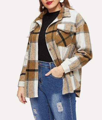 Plaid Single-Breasted Tweed Jacket