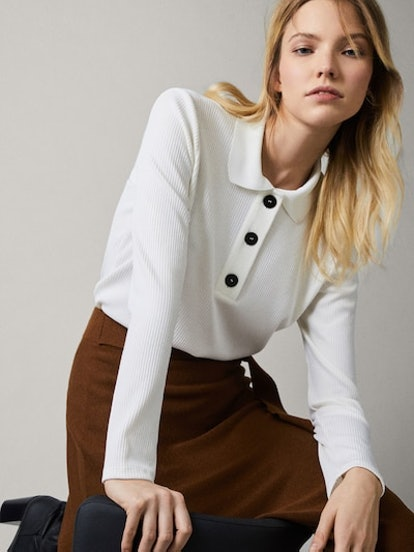 Ribbed Polo Shirt With Buttons, Cream