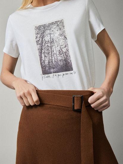 Photo Print Lyocell/Cotton T-shirt
