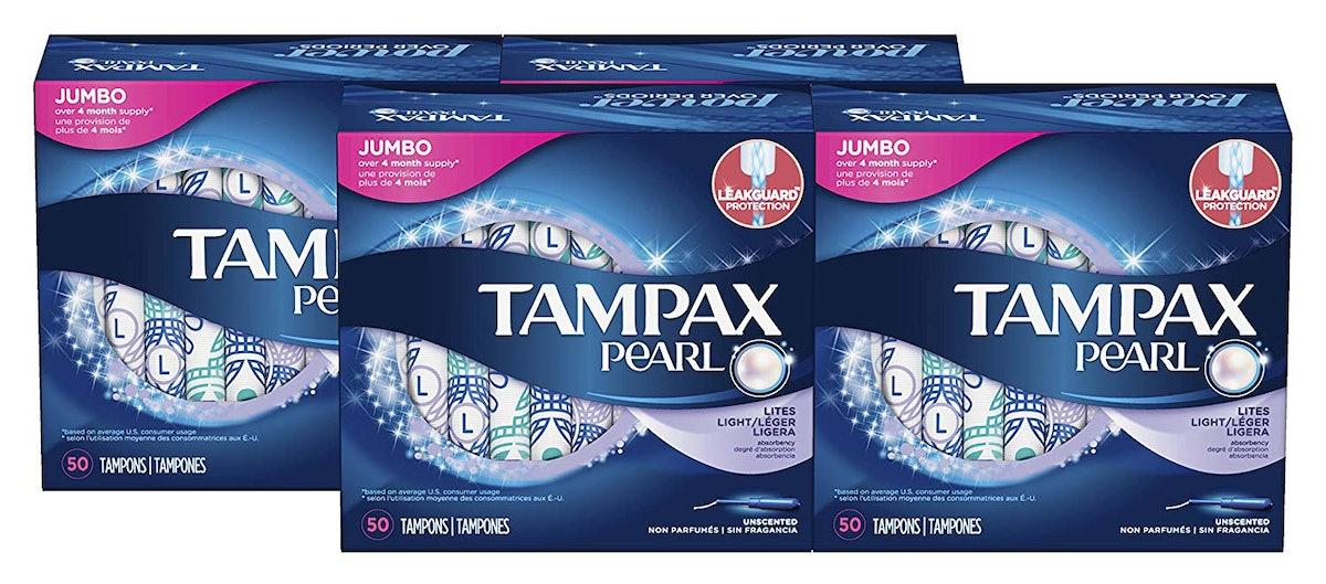 Tampax Pearl Lite Absorbency Tampons (50-Count, 4 Pack)