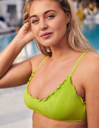 Aerie Pique Ruffled Scoop Bikini Top