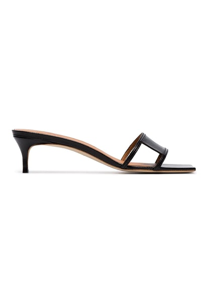 Virgo 45 Leather Square Toe Cutout Mules