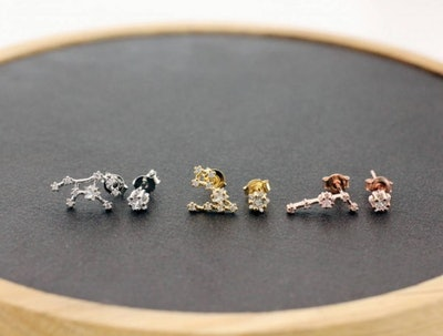 Cubic Constellation Sign Earrings