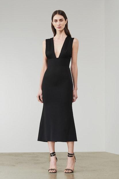 Deep V Flared Midi Dress