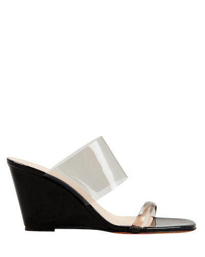 Olympia Black Patent Leather Sandals