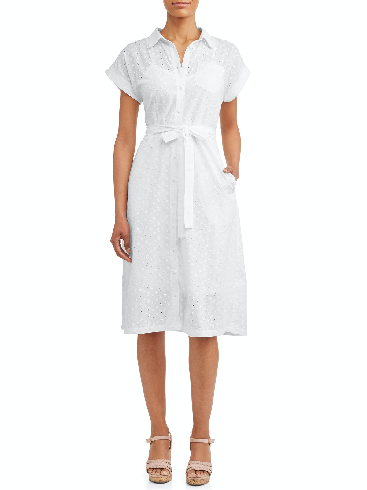 Time and Tru Women's Belted Midi Shirt Dress with Pocket