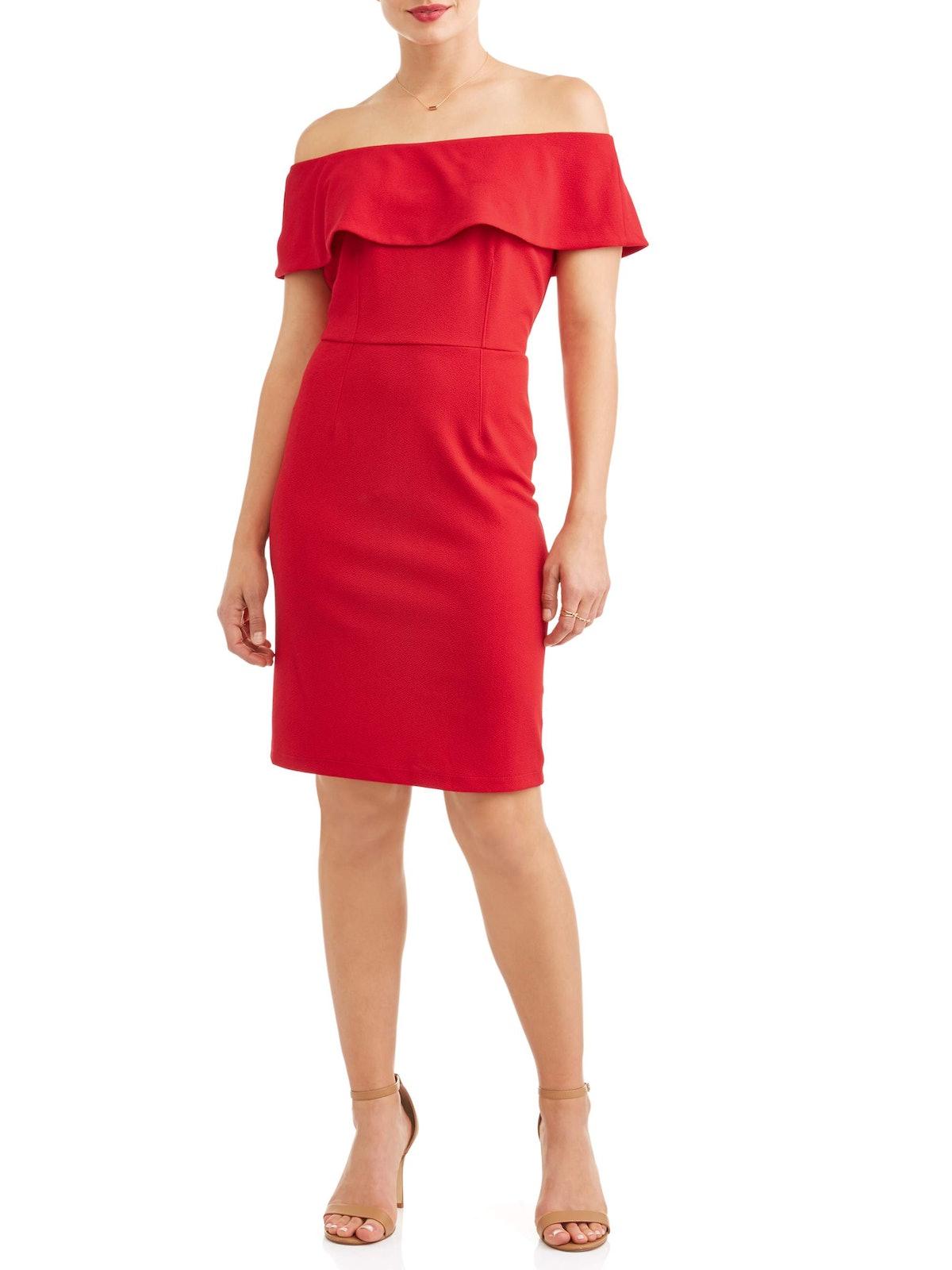 Wrapper Women's Ruffle Off the Shoulder Dress