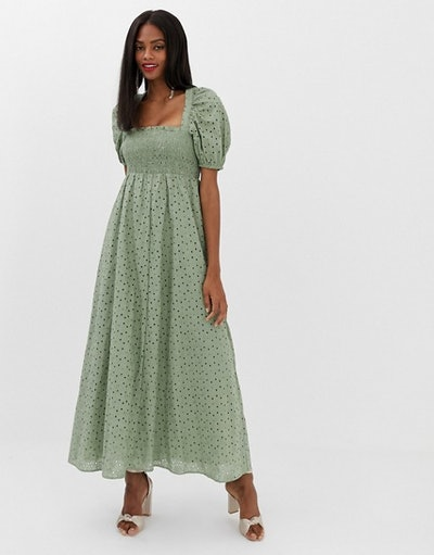Bustier Maxi Dress With Puff Sleeve in Broderie