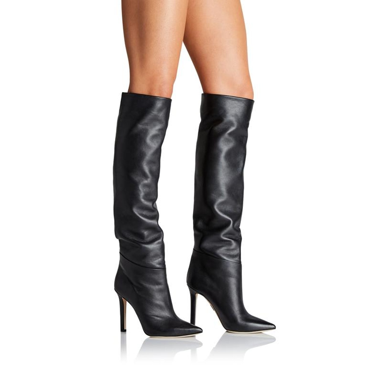 Knee High Boots in Black Nappa