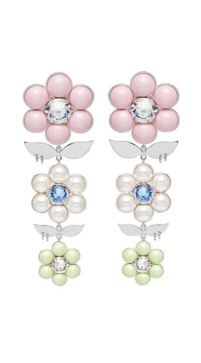 Triple Daisy Drop Earrings