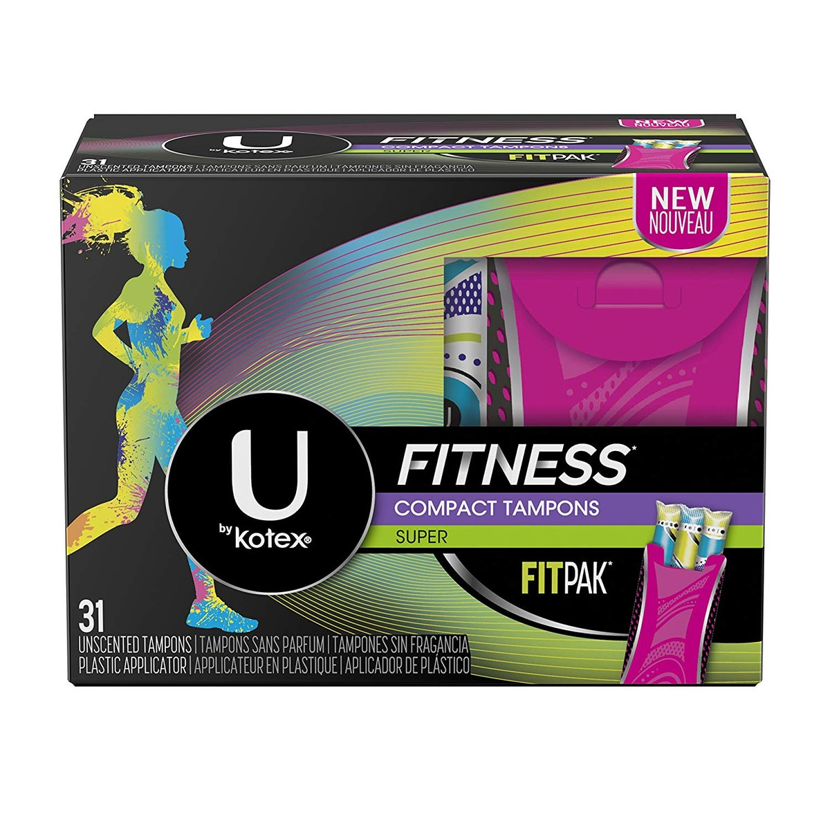 U by Kotex Fitness Tampons with Fitpak Case, Super Absorbency, 31 Count