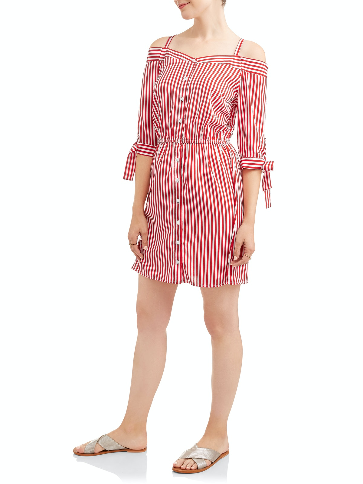 Millennium Women's Stripe Off The Shoulder Shirt Dress