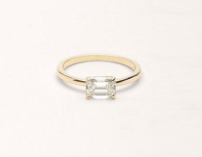 Emerald Diamond Engagement Ring