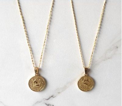 Zodiac Coin Medallion Necklace