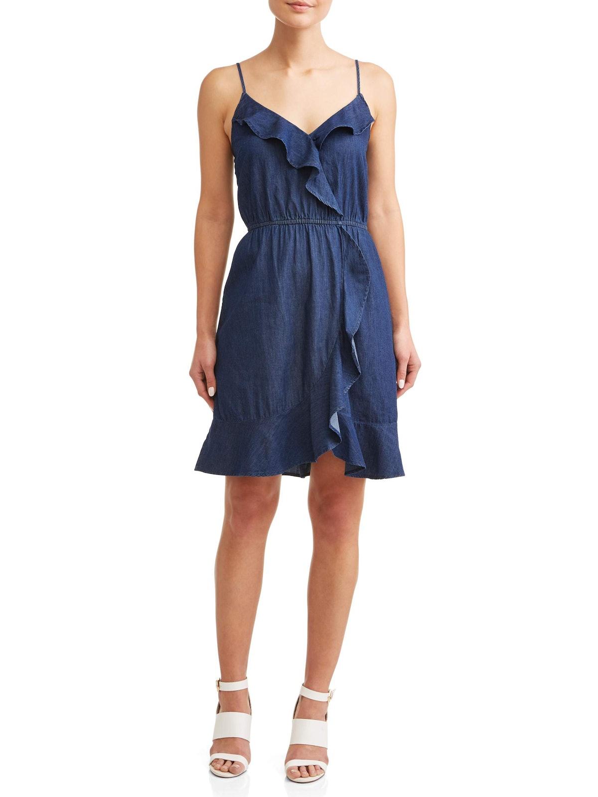Millenium Ruffle Front Denim Dress