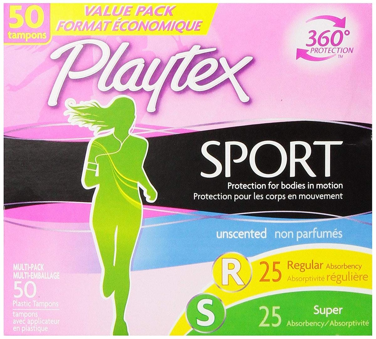 Playtex Sport Tampons, Regular and Super Multi-Pack, 50 Count