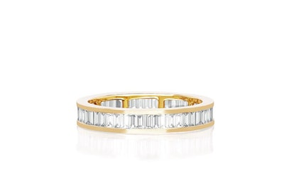Diamond Channel Set Baguette Eternity Stacking Ring
