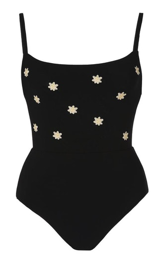 Black Square Neck One Piece with Floral Embroidery