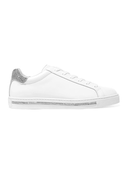 Crystal-Embellished Calf Leather Sneakers