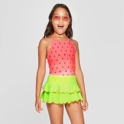 Girls' One in Melon One Piece with Skirt Swimsuit - Cat & Jack™ Coral