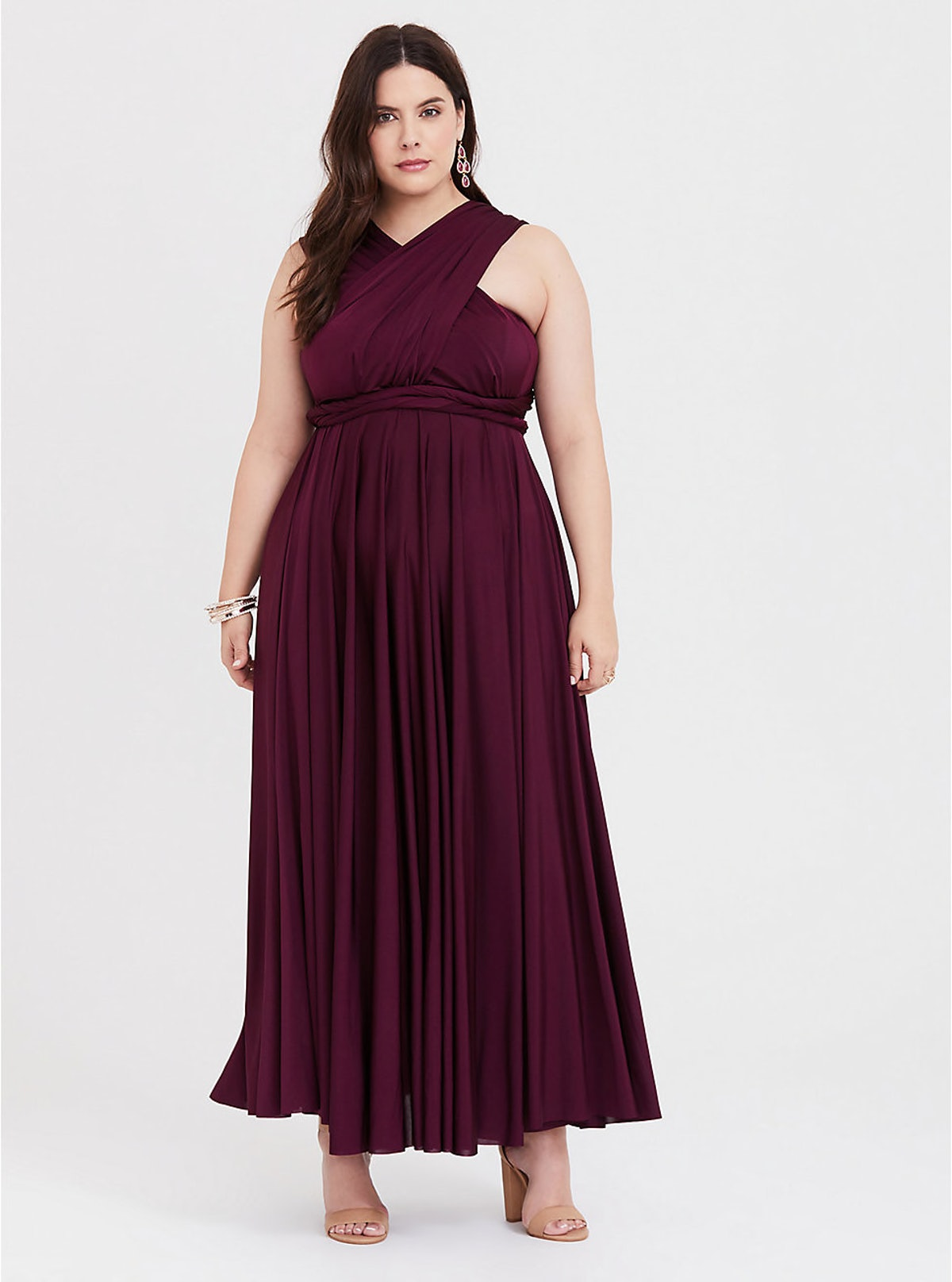 Special Occasion Burgundy Studio Knit Convertible Maxi Dress