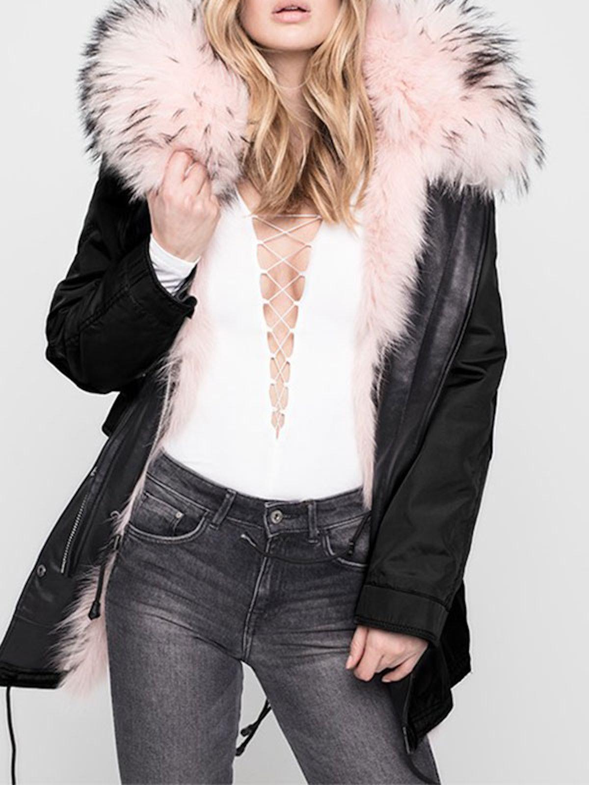 Belleville Reversible Fox & Racoon Fur-Trim Coat