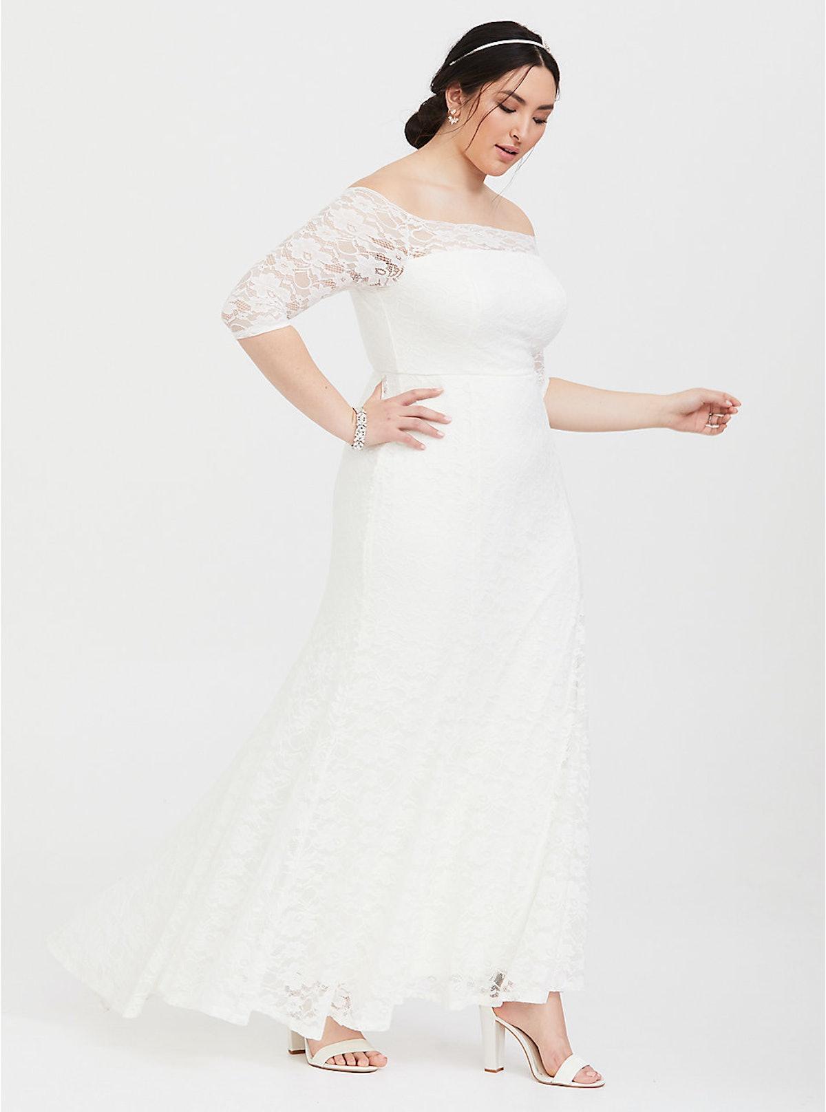 Ivory Lace Off Shoulder Formal Gown
