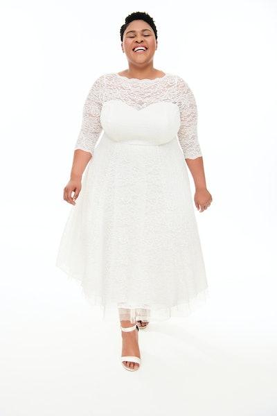 Special Occasion White Lace Midi Dress
